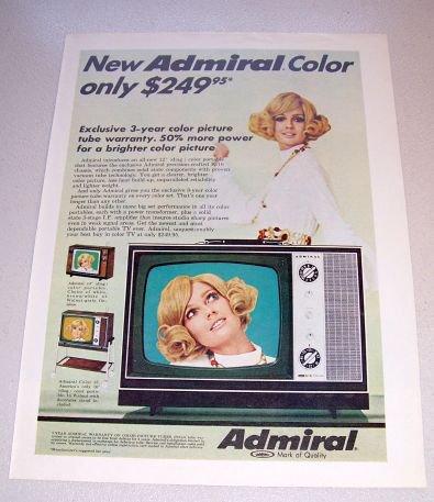 1969 Admiral K-10 Portable Television Color Print Ad