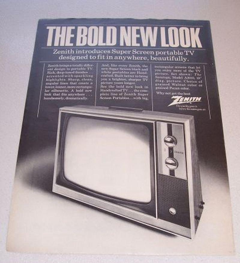 1969 Zenith Saratoga Model A2010 Portable Television Print Ad