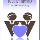 Blue Two Grooms One Heart Gay Wedding Invitation