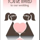 Pink Two Brides One Heart Lesbian Wedding Invitation