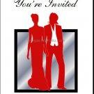 Red Butch-Femme Brides Lesbian Wedding Invitation