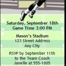 Panthers Colored Football Party Ticket Invitation 2