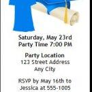 Blue Grad & Cap Graduation Party Ticket Invitation