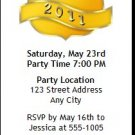 Yellow Crest Graduation Party Ticket Invitation