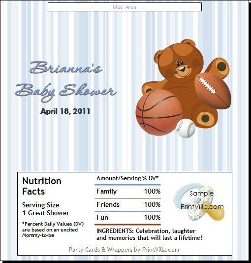 Sports Teddy Bear Candy Bar Wrapper