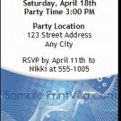 Blue Graphic Party Ticket Invitation