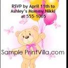 Build a Teddy Bear Birthday Party Ticket Invitation