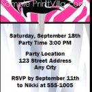 Pink Zebra Party Ticket Invitation