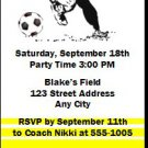 Soccer Player Birthday Party Ticket Invitation