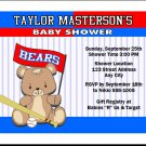Baseball Teddy Bear Baby Shower Invitations