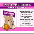 Basketball Teddy Bear Baby Shower Invitations Pinkle