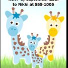 Giraffe Family Baby Shower Ticket Invitation
