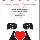 Two Brides One Heart Lesbian Wedding Invitation 5x7 Flat