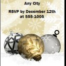 Golden Holiday Party Ticket Invitations