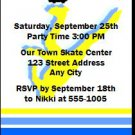 Roller Skate Male Birthday Party Ticket Invitation
