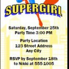 Supergirl Birthday Party Ticket Invitation