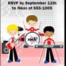 Boy Rock Band Red Birthday Party Ticket Invitation