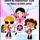 Girl Rock Band Blue Pink Birthday Party Ticket Invitation