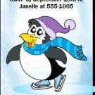 Ice Skating Penguin Blue Birthday Party Ticket Invitation