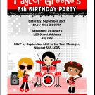 Girl Rock Band Red Party Invitation