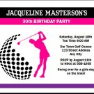 Golf Swing Female Birthday Party Invitation