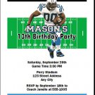 Panthers Colored Football Birthday Party Invitation
