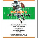 Dolphins Colored Football Birthday Party Invitation