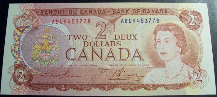CANADA 1974 $2 note