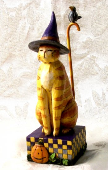 Jim Shore Cat With Witch Hat & Cane Tail