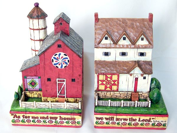 Jim Shore Heartwood Creek House & Barn Bookends