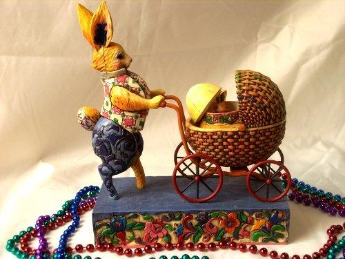 Jim Shore Bunny Pushing A Carriage