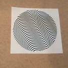 STAR TREK COMMUNICATOR THETA PATTERN MOIRE PRINTED ON A WHITE ROUND PLASTIC PAPER STICKER