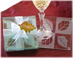 Fall In Love Leaf Glass Coaster Wedding Favors Set