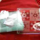 Crystal Snowflake Glass Coaster 4 pc Wedding Favors Set