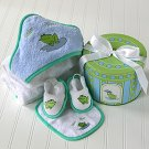 Baby Bath Time Gift Set in Hat Box -  Finley the Frog