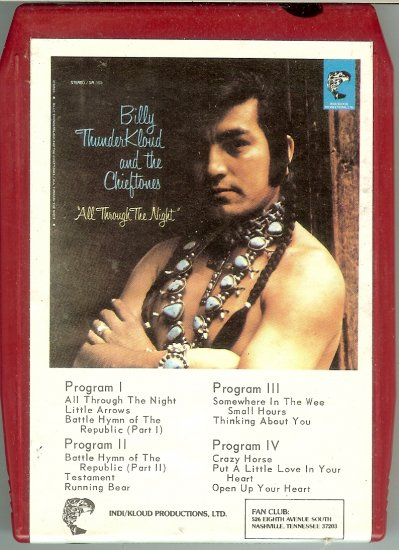 Billy ThunderKloud And The Chieftones - All Through The Night 1974 INDI 8-track tape