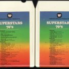 Superstars Of The 70&#39;s Vol 1 & 2 - Compilation Of Rock Artists 1973 WARNER 8-track tape