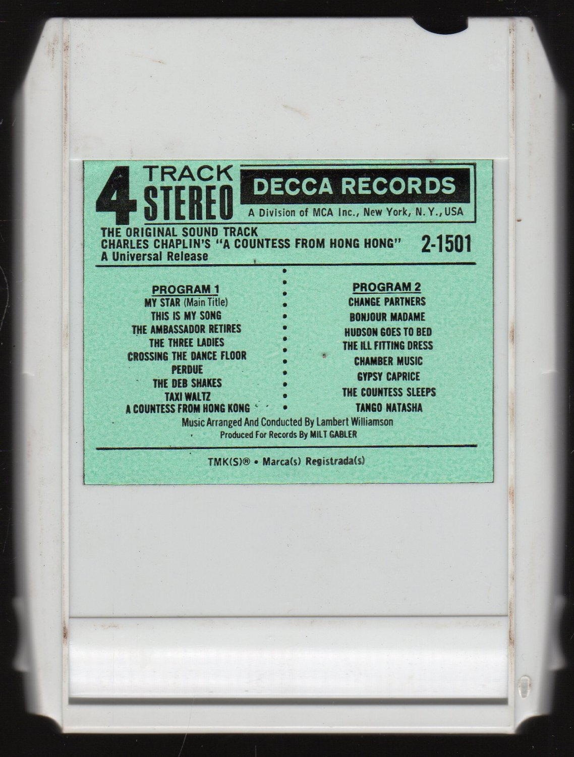 Charlie Chaplin - A Countess From Hong Kong 1967 DECCA Original Soundtrack AC2 4-track tape
