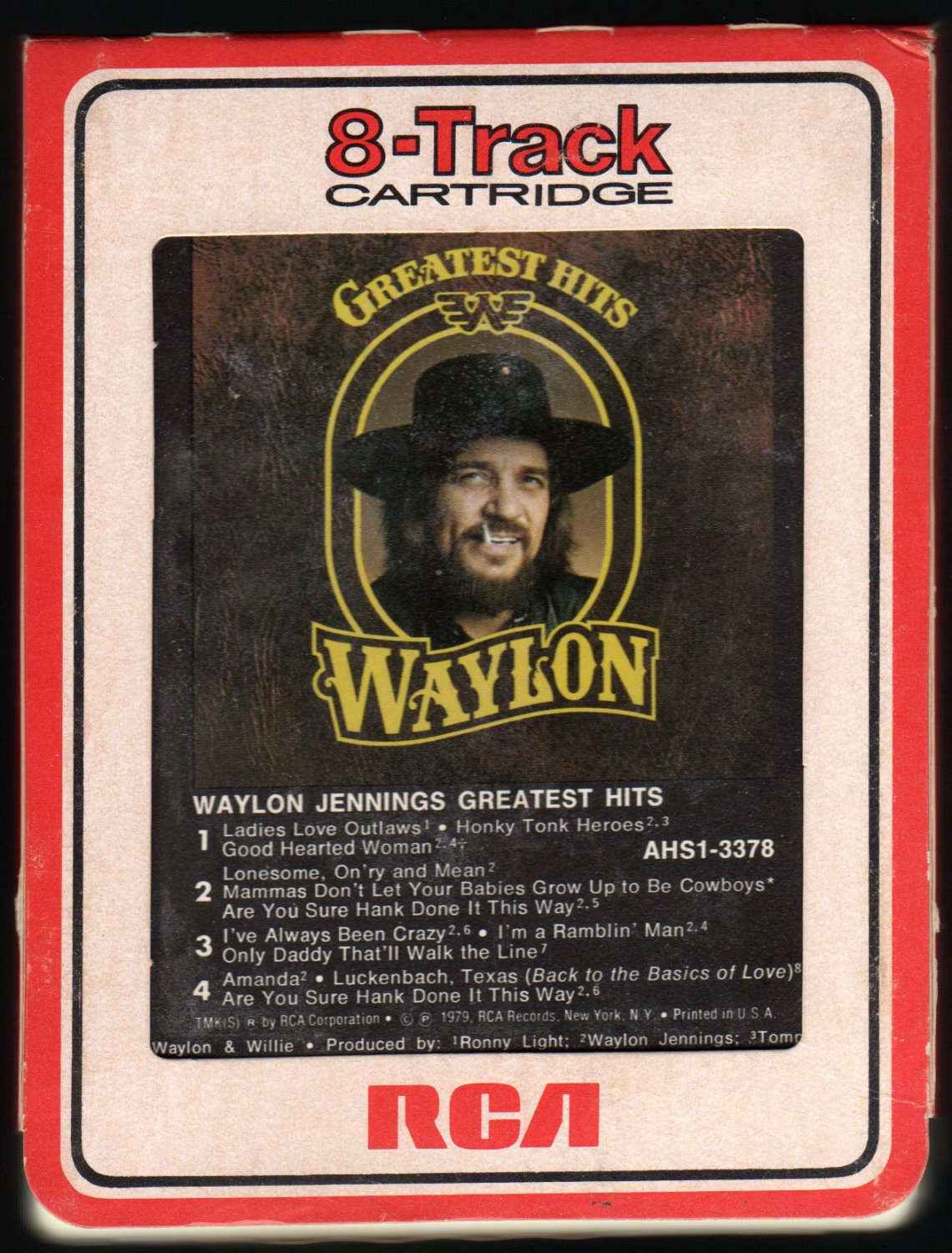 Waylon Jennings - Greatest Hits 1979 RCA A19A 8-TRACK TAPE