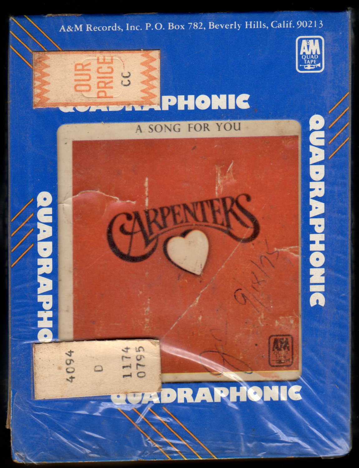 The Carpenters - A Song For You 1972 A&M Quadraphonic A15 8-TRACK TAPE