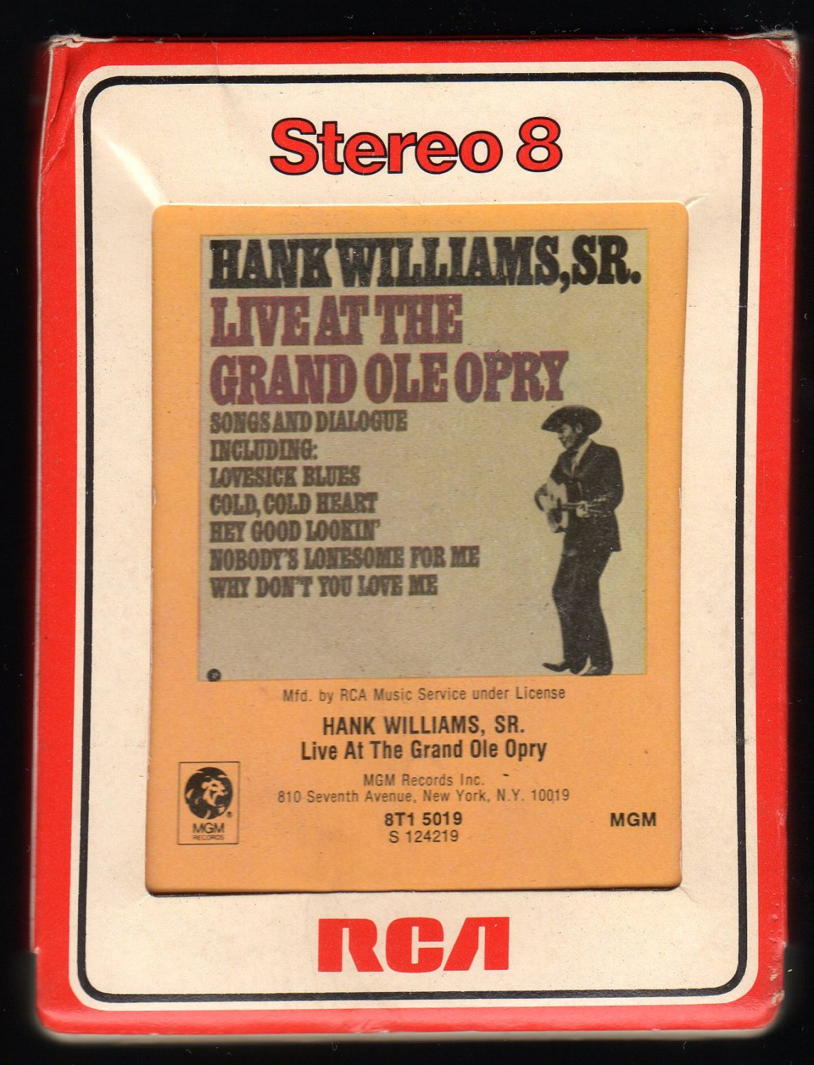 Hank Williams Sr. - Live at the Grand Ole Opry 1976 RCA A29B 8-TRACK TAPE