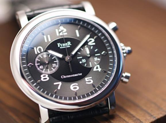 Fiber - Retro-chic Black Chronograph Hand Winder (FB8003-01-2)