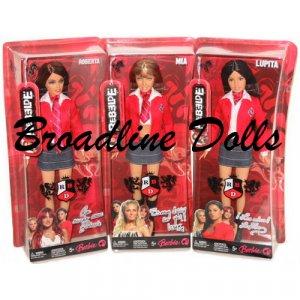 3 Rebelde Barbie Dolls - Lupita + Mia + Roberta - RBD
