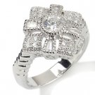 Vintage Design  .59ct Russian Cz Diamonds SS Cross Ring Sz 10