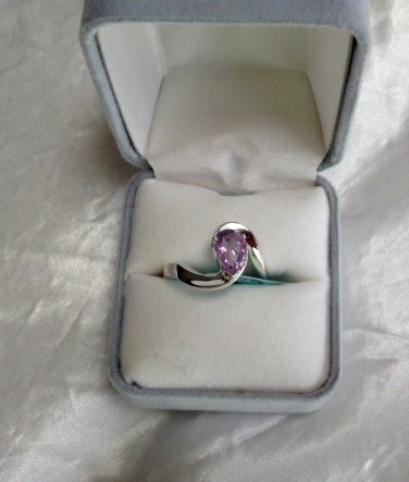 Genuine Amethyst Contemporary Ring Sterling Silver .925 Sz 7.5 New