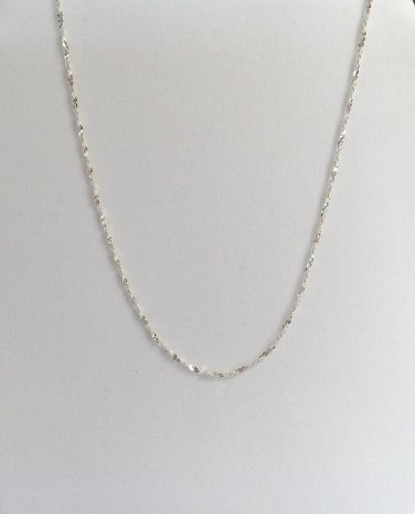 Sterling Silver .925 Serpentine Chain Necklace 17 Inch New