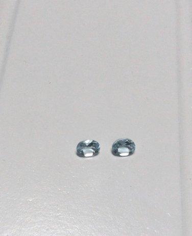 Genuine Brazilian Aquamarine Set of 2 Oval Cut 4x3 mm 0.29 Ctw