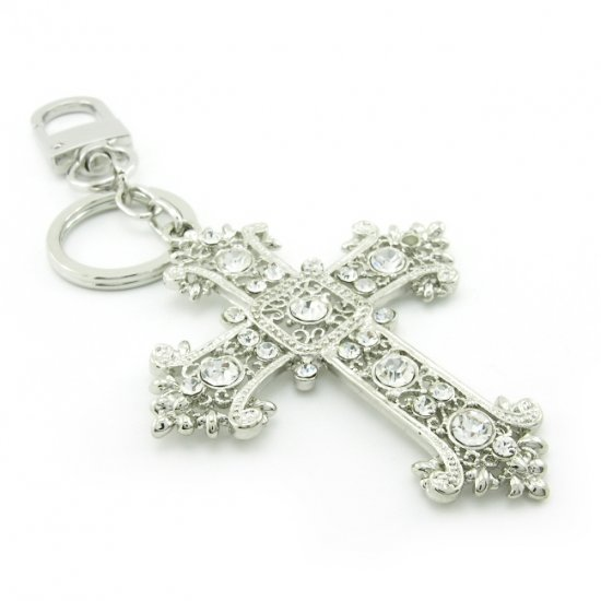 "Keychain + Fashion Bag ""Big Cross"" Charms -- Baroque Style"