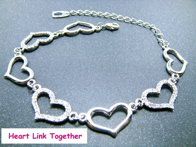 Heart Link Together Bracelet With Swarovski Crystal