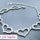 Heart Link Together Bracelet With Swarovski Crystal
